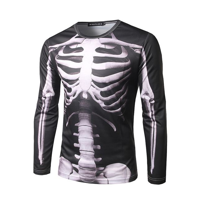 5575ecbe9a5 3D Body Skeleton Printed Stylish T Shirt Men O-Neck Long Sleeve Black  Compression Shirts 2017 Novelty Plus Size Funny Pullovers