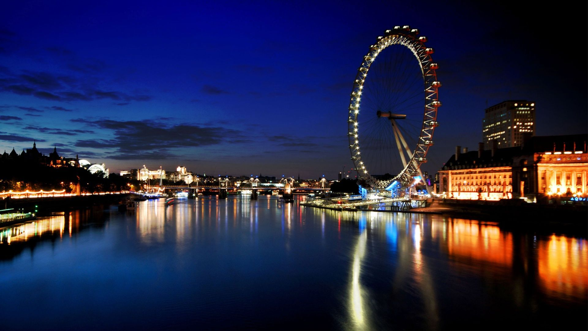 London Skyline At Night Hd Desktop Wallpaper Widescreen Hd