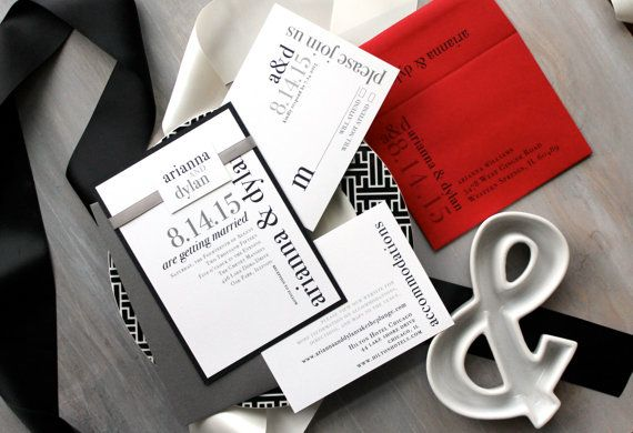 "Modern Wedding Invitations, Wedding Invitation, Black and White Wedding, Customizable – ""Urban Elega"