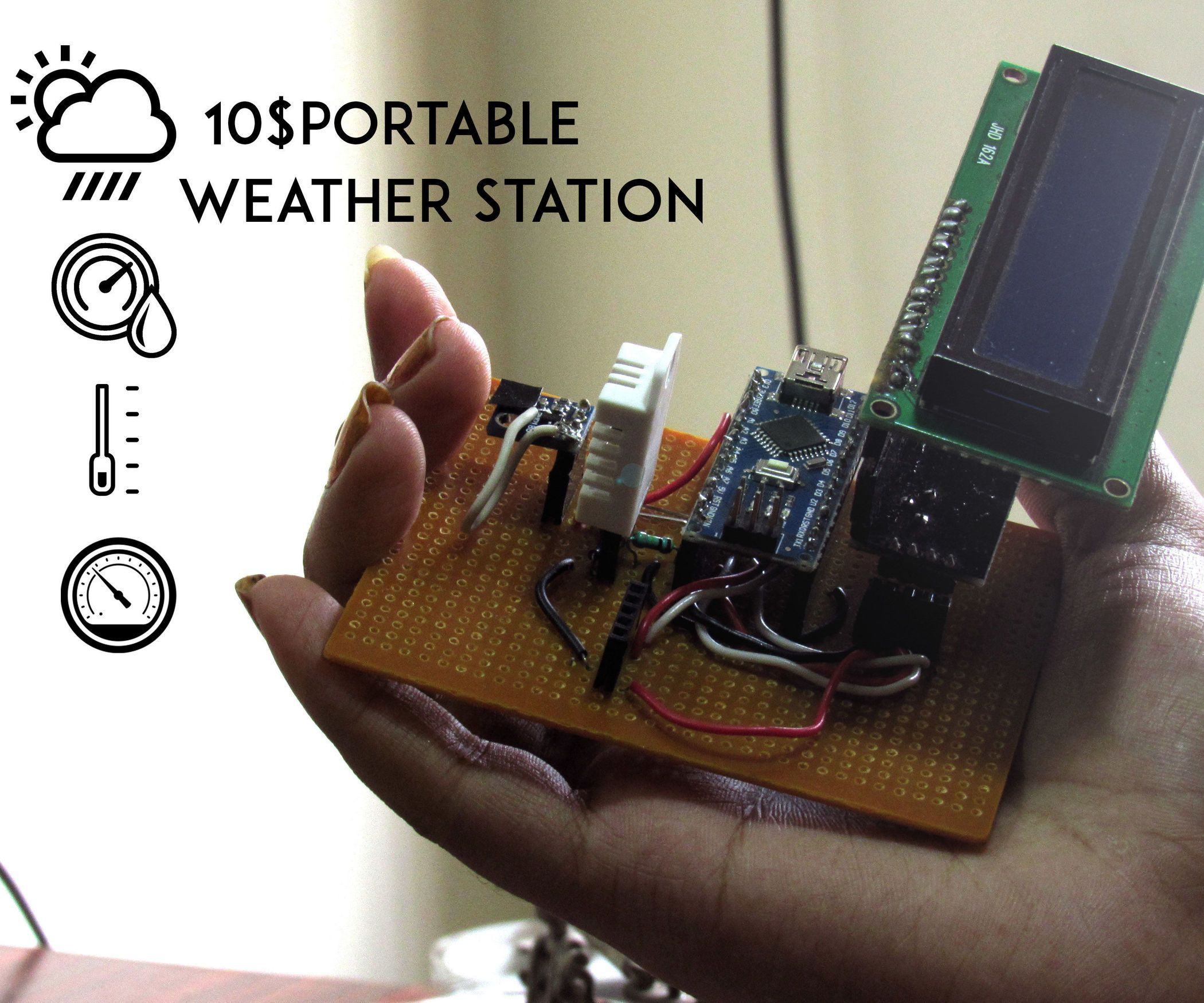 10 $ Portable Arduino Weather Station (AWS) | Arduino, Weather and ...