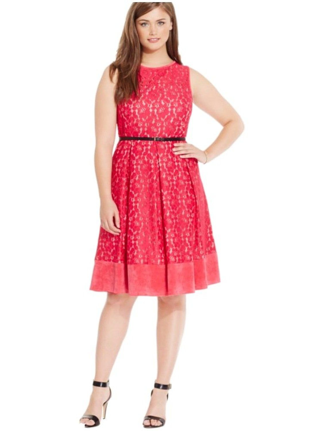 Red lace dress plus size  Amazon Calvin Klein PLUS Winter Rose All Over Lace Aline