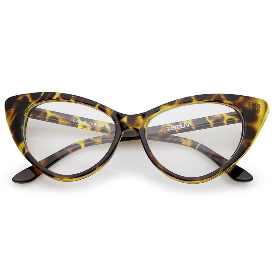 1950 s Vintage Mod Fashion Cat Eye Clear Lens Glasses 8435 - Yellow Tortoise f1707350eb