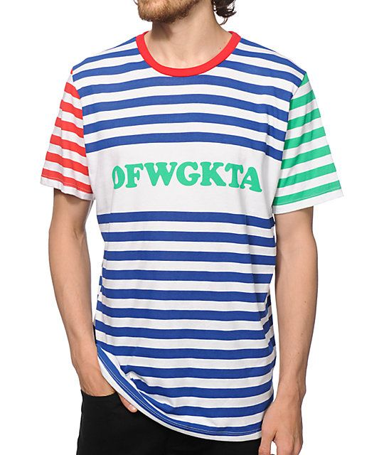 7da84f6405ba Get fitted in true Odd Future style with a green OFWGKTA chest graphic on a  white and blue stripe body plus a red stripes on the right and green  stripes on ...