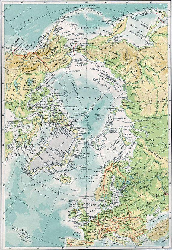 Vintage map arctic ocean alaska canada germany greenland original vintage map arctic ocean alaska canada germany greenland original 1949 alaska ocano y mapas gumiabroncs Gallery