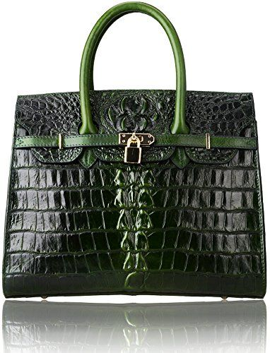 Pijushi Classic Embossed Crocodile Purse Genuine Leather Office Ladies Handbags Satchel Padlock Tote Bag 22130 (Large, Tail Green) PIJUSHI http://www.amazon.com/dp/B0166887JA/ref=cm_sw_r_pi_dp_p1Zzwb1XCW25R