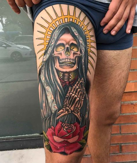 Tribal Santa Tatoo: Santa Muerte Tattoo On Thigh