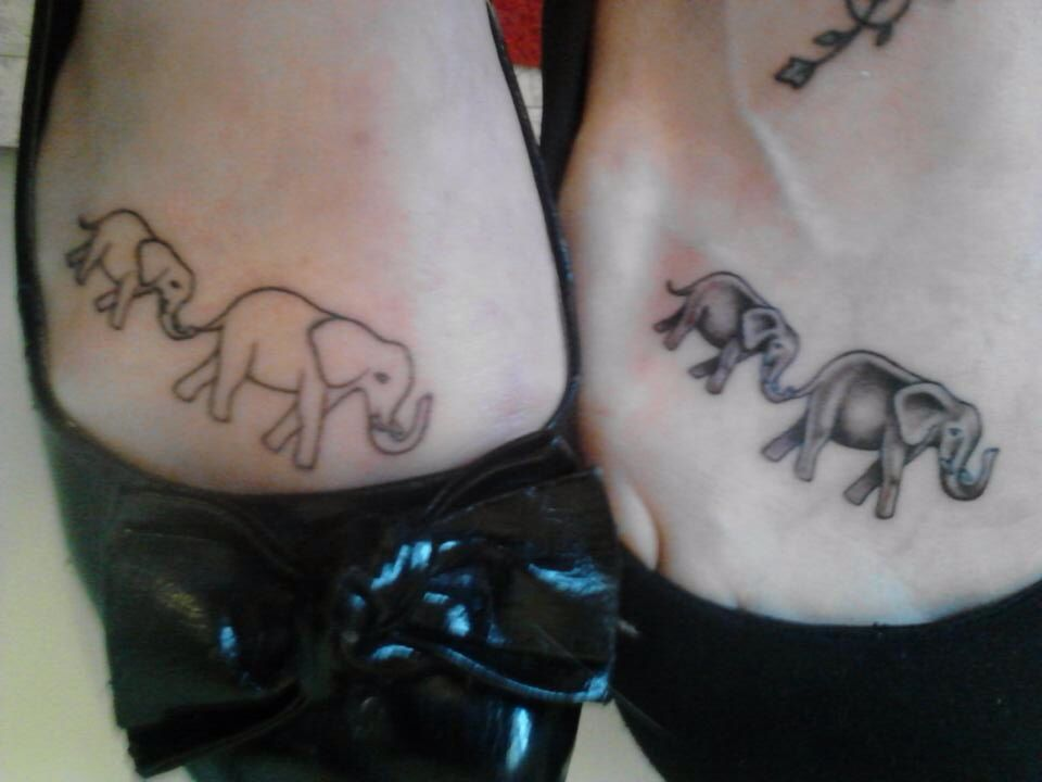 matching elephant tattoos mine is on the right it 39 s about mothers and daughters and the fact. Black Bedroom Furniture Sets. Home Design Ideas