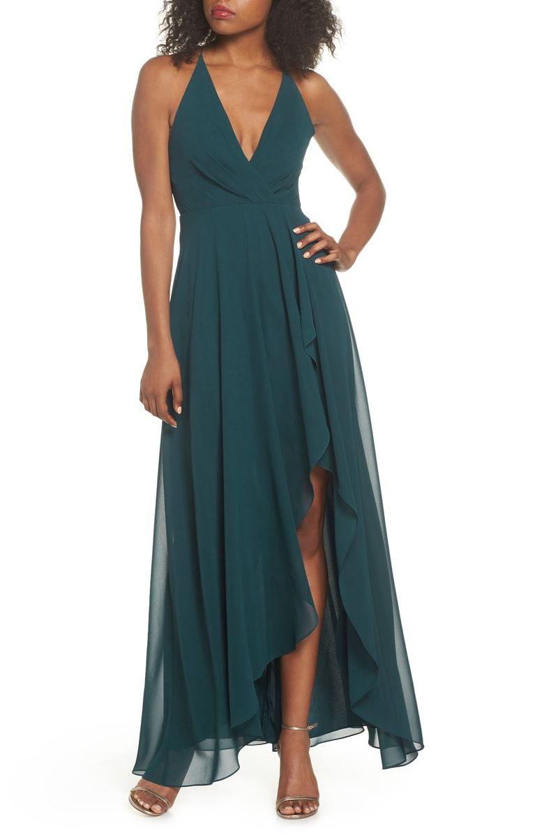Farrah ruffle skirt chiffon gown main color caspian sea dresses