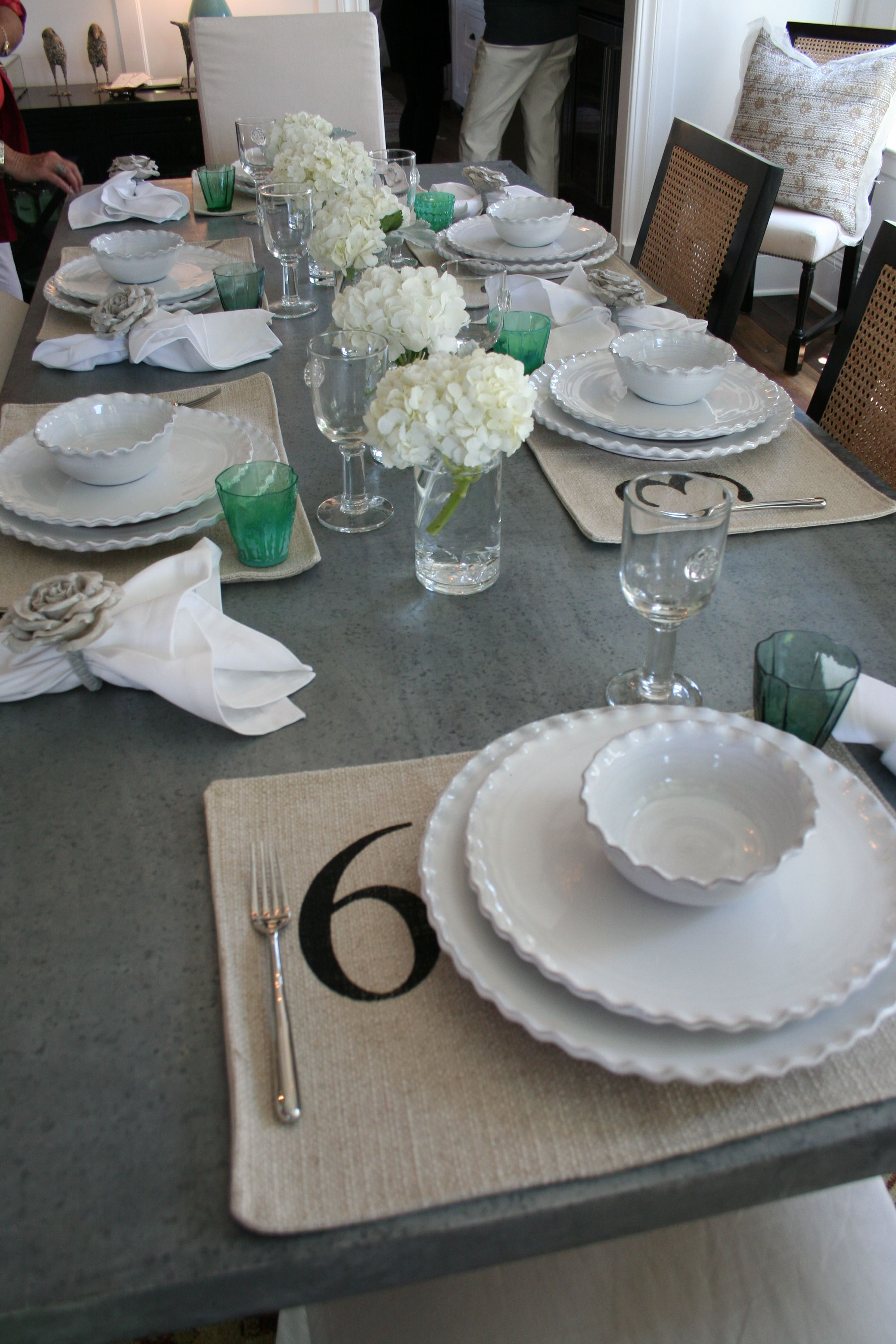 Beachy Casual Table Setting   Green Accents Are Cute For St Patricku0027s Day