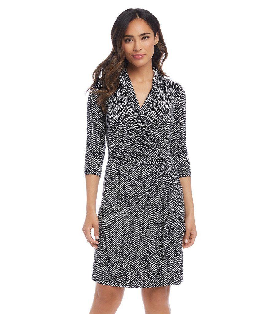 3 4 Sleeve Cascade Wrap Dress Wrap Dress Wrap Dress Work Dresses [ 1024 x 890 Pixel ]
