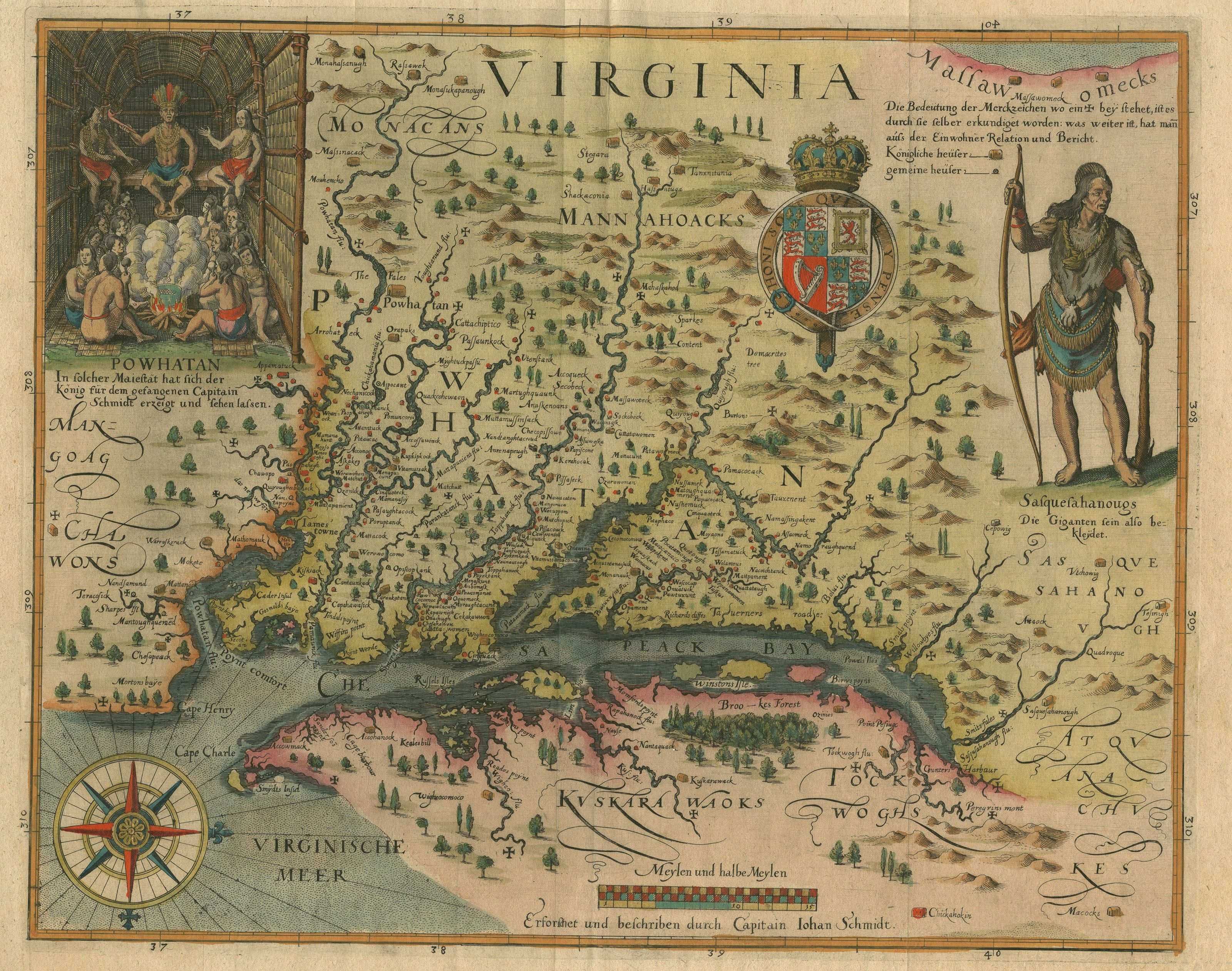 Amazing color map from 1628 of Maryland