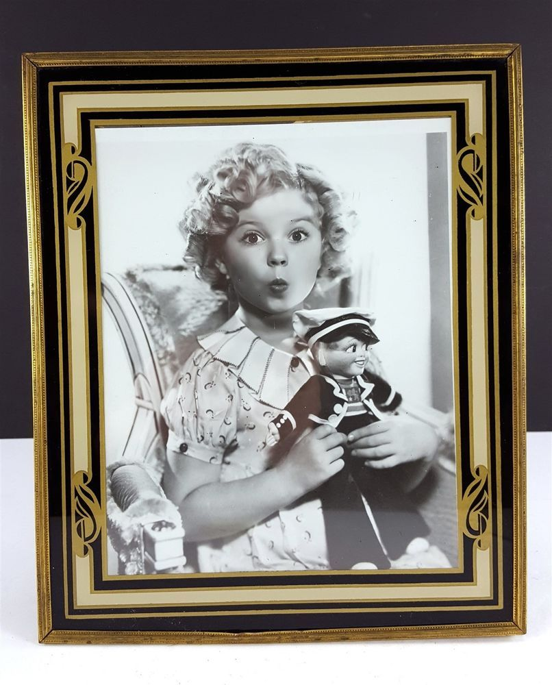 Shirley Temple Black Gold Beige 10x12 Art Deco Reverse Painted Picture Frame Artdeco Painted Picture Frames Art Reverse Painted