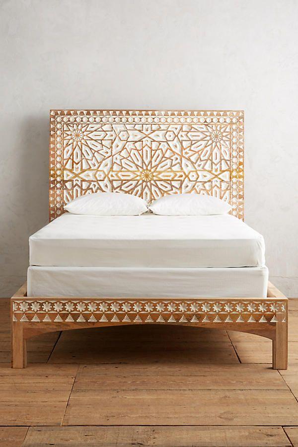 Hand Carved Wood Boho Bed Frame Anthropologie Furniture Home Decor Bedroom Decor