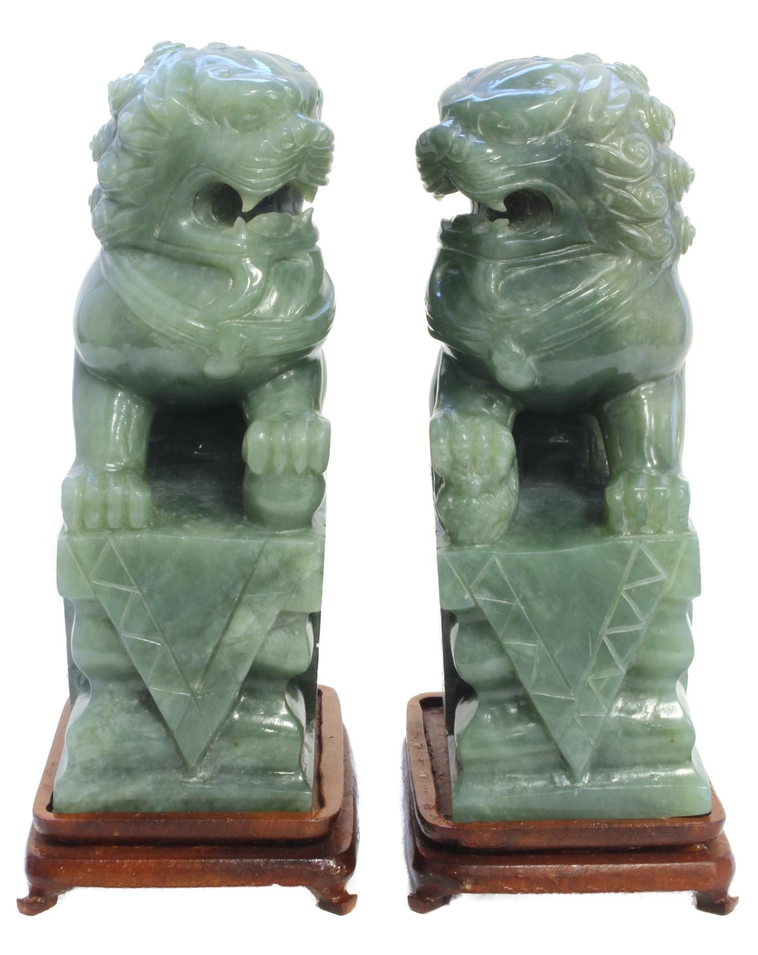 Green Foo Dogs Foo Dog Sculptures Pair Of Chinese