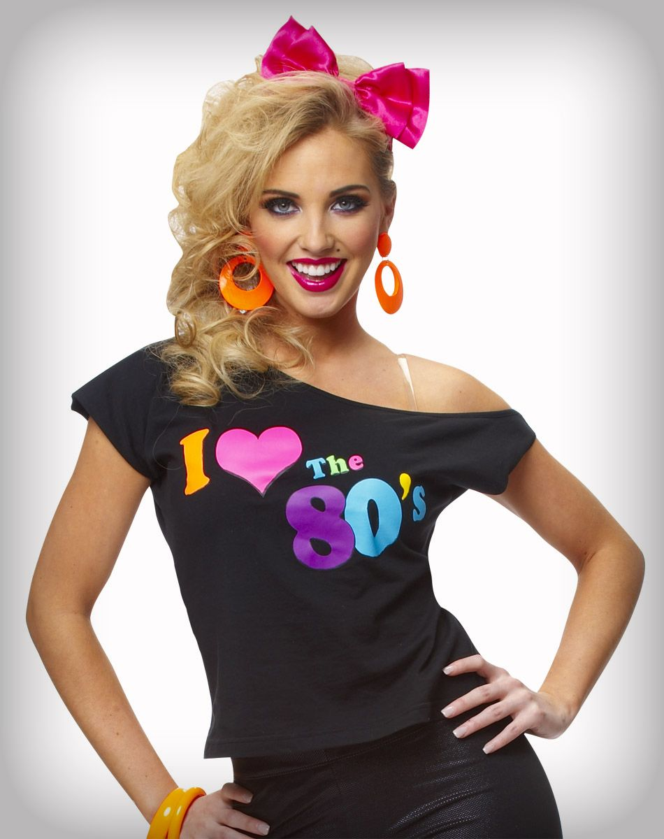 Retro 80/'s Fancy Dress Pop Star Unisex Gift Party Top I Love The 80s T-Shirt