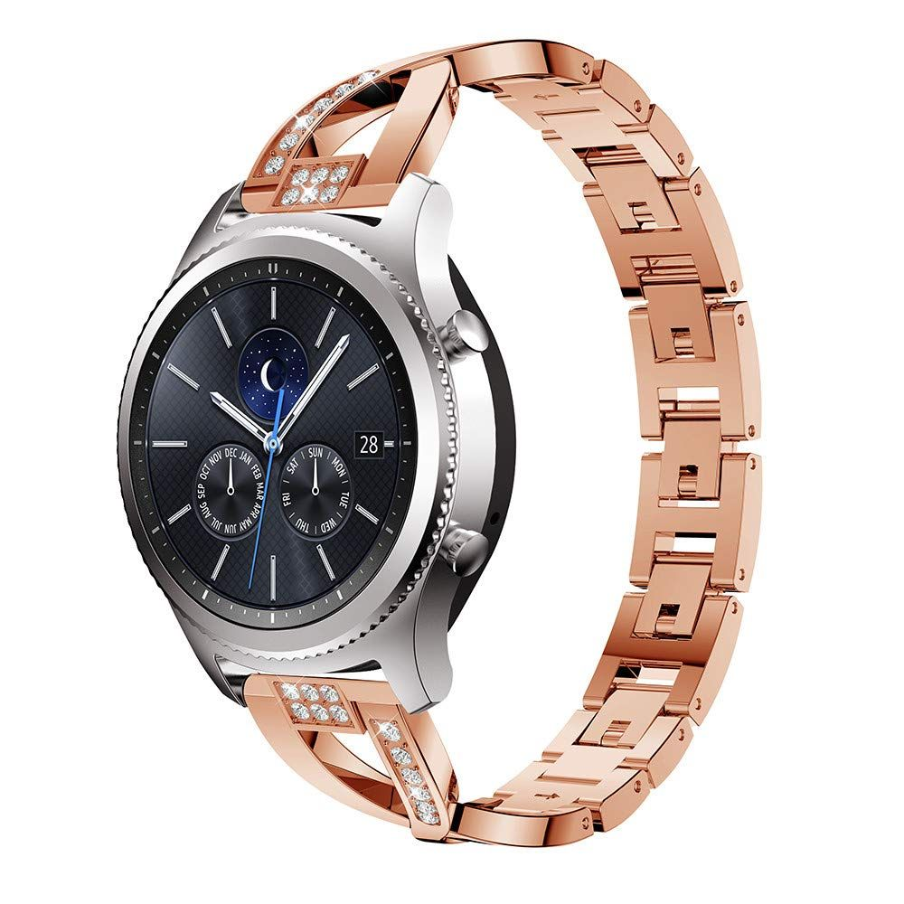 Highlifes For Gear S3 Frontier Rose Goldsamsung Gear S3 Women Stainless Steel Bling Wristbands3 Front Classic Watches Girls Wrist Watch Classic Diamond Jewelry