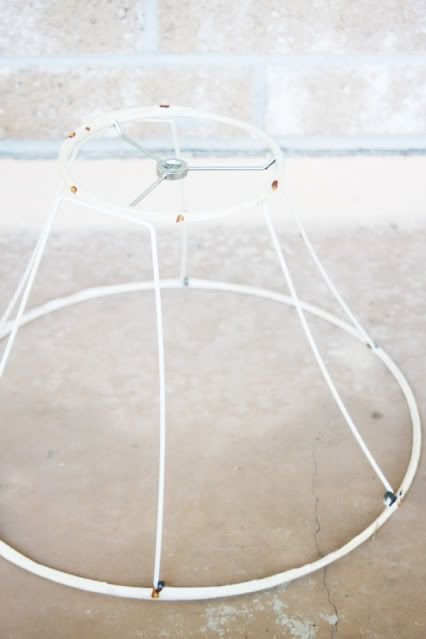 DIY chandelier Step 1:   shabby chic diy chandelier | First step, tear all the material off of the lap shade, like this:
