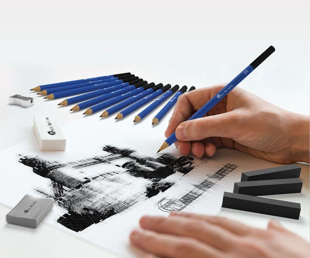 26 piece sketching set drawing art pencil artist supplies kit sketch pencils castle