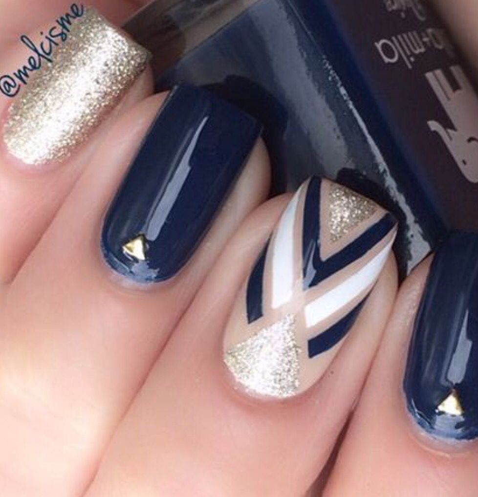 Dark Blue Gold White Nails Trendy Nails Blue Nails Beauty Nails