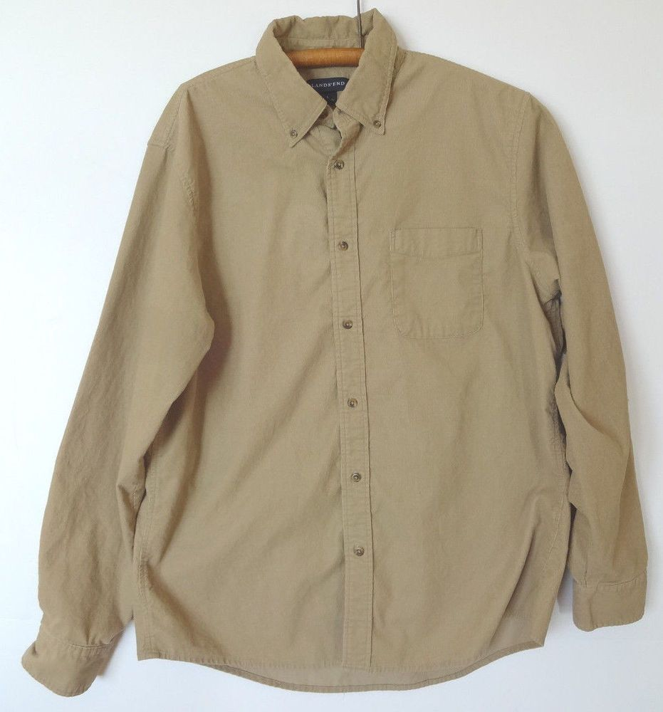 a17c7993265 Men's Lands' End Lightweight Corduroy Shirt Size Large L Tan 100% Cotton  Soft #Landsend #ButtonFront