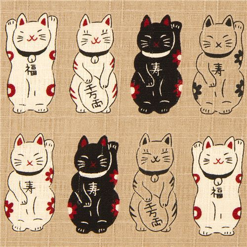 Ecru Structured Lucky Cats Fabric From Japan Lucky Cat Tattoo Cat Tattoo Japanese Tattoo
