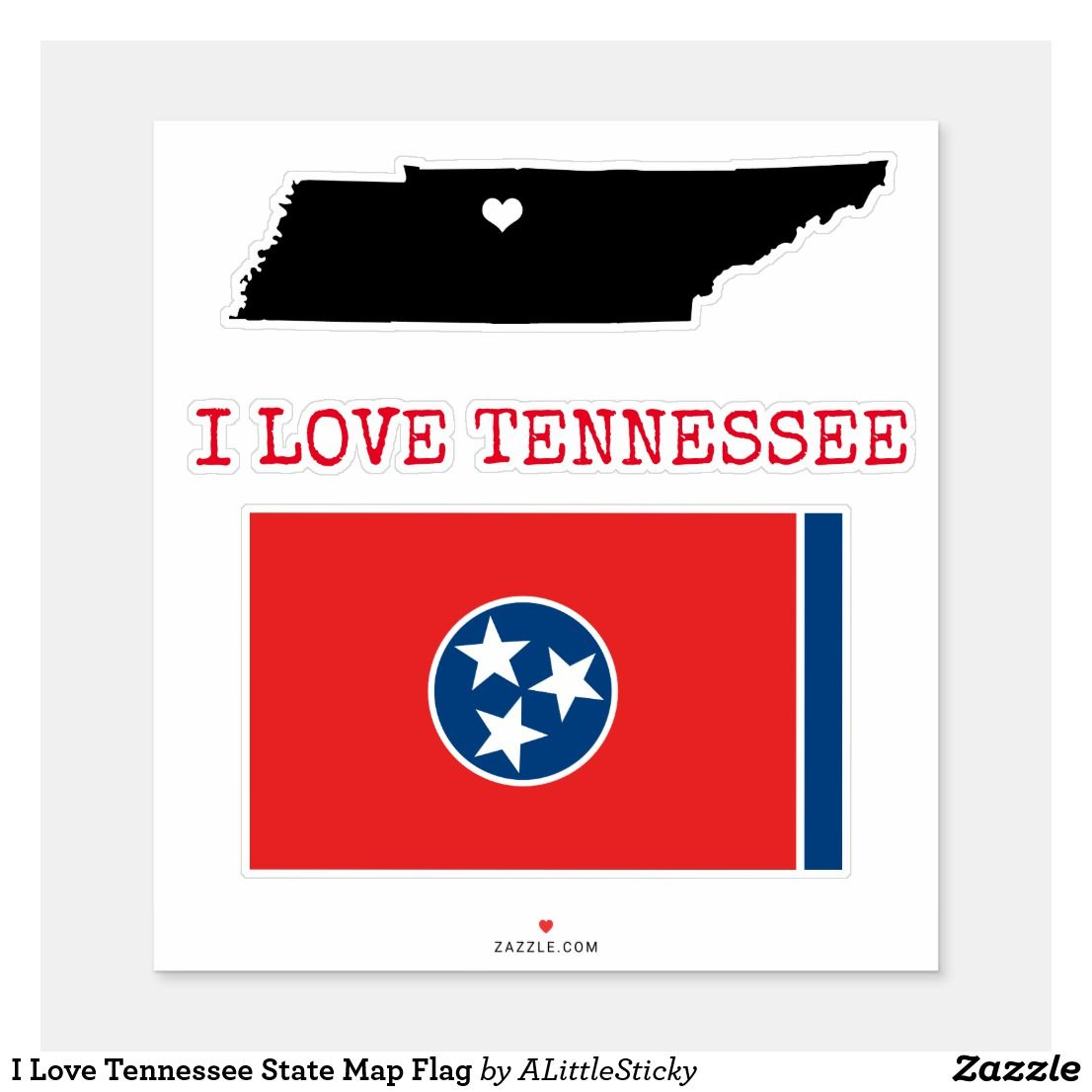 I Love Tennessee State Map Flag Sticker