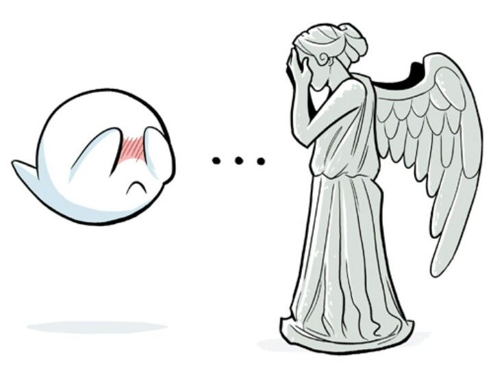 Boo from the Mario Brothers games and the Weeping Angel from Dr. who! I will so be getting this tattooed on me!