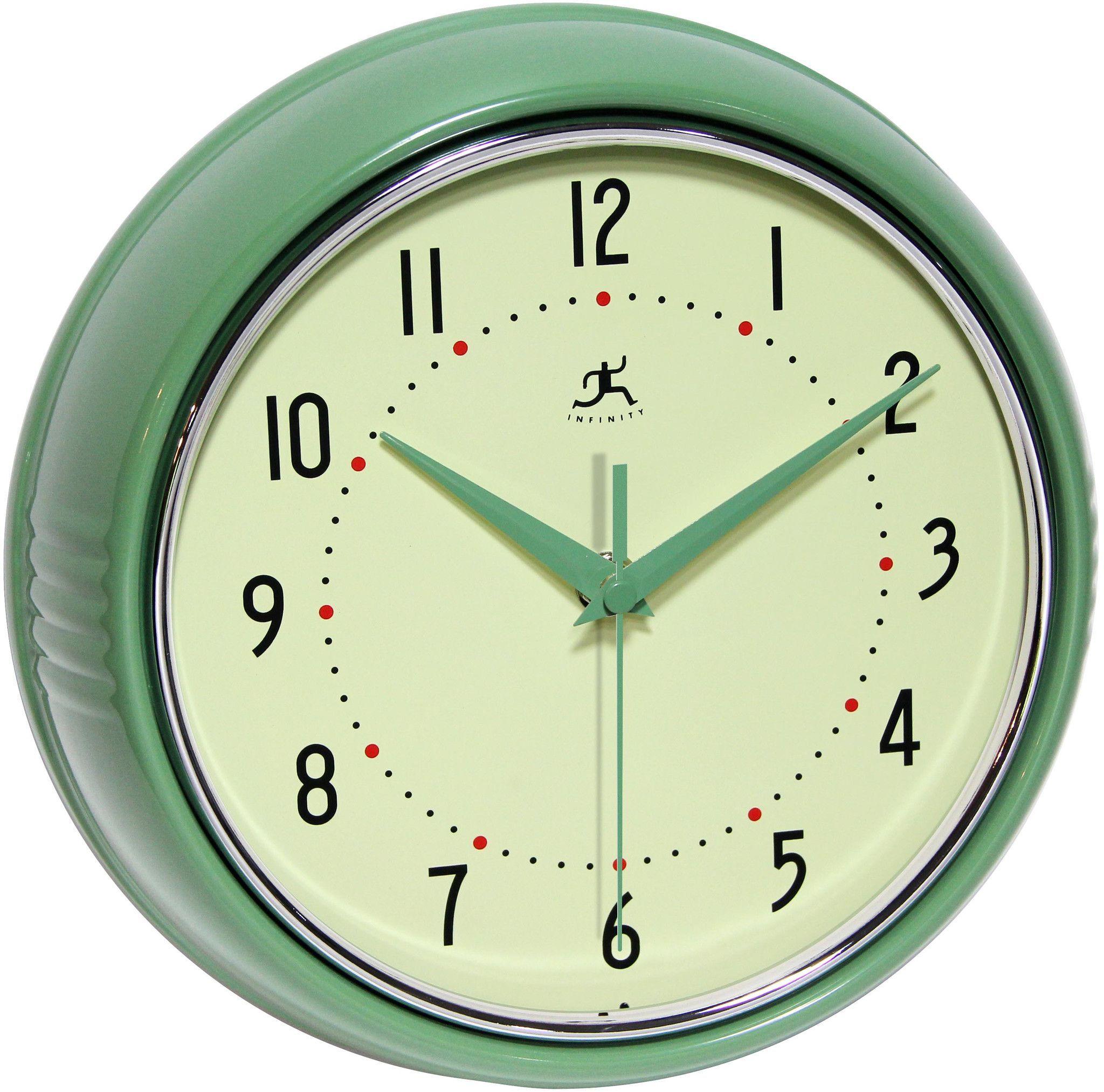 Retro Kitchen Wall Clocks Infinity Instruments Retro Green Wall Clock 10940 Green Products