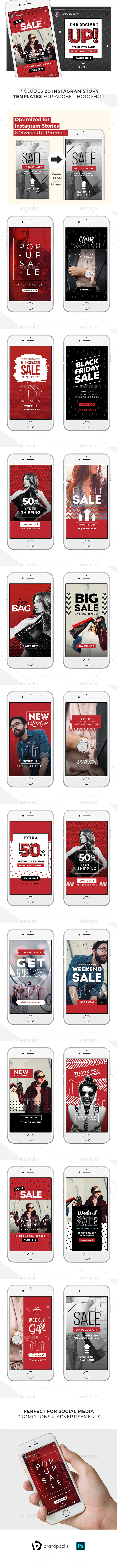 Swipe Up Instagram Story Templates Pack By Brandpacks Graphicriver In 2020 Instagram Story Template Instagram Story Ads Photographer Templates