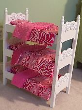 Stackable Wooden Doll Triple Bunk Bed Linens For American Girl