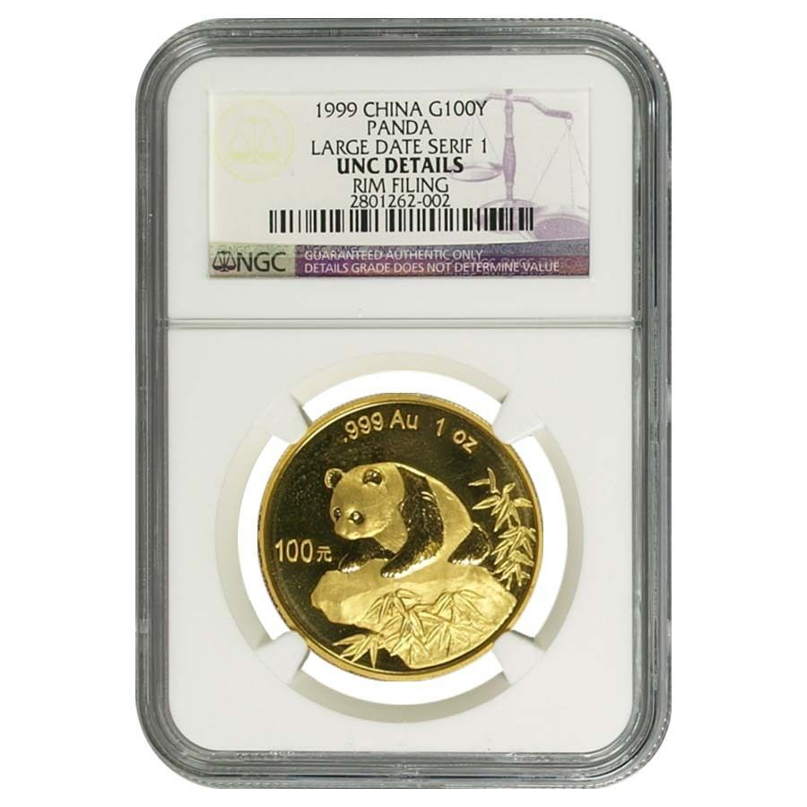 1999 1 Oz China Gold Panda 100 Yuan Ngc Unc Details Large Date Serif 1 Gold Bullion Coins Chinese Panda Ngc