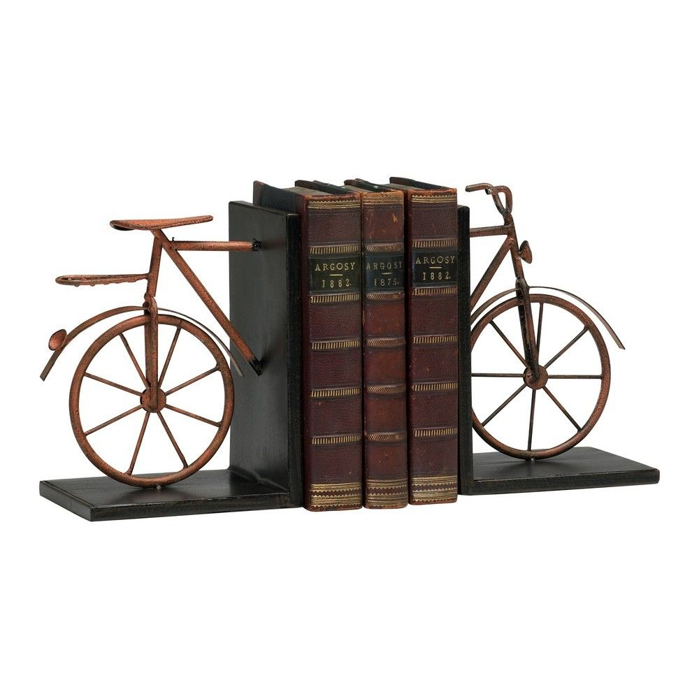 bicycle decor | cyan design bicycle bookends in muted rust (set of