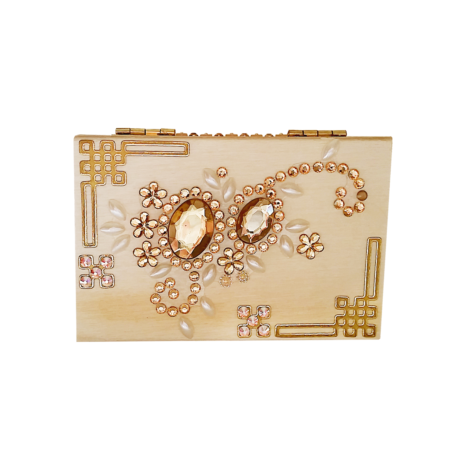 This is amazing ornament of brown rhinestones are making this box more exclusive and bright! Shop now on jvboutique.com