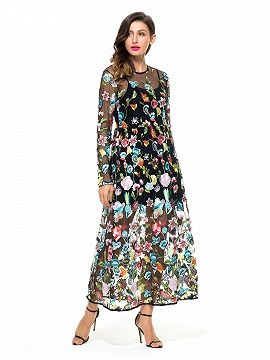 1e428957db Shop Black Embroidery Floral Long Sleeve Sheer Mesh Maxi Dress from  choies.com .Free shipping Worldwide.$41.9