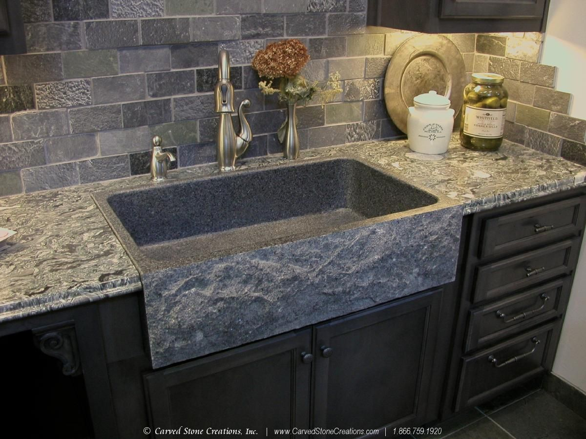10 Design Ideas For Using Stone In Your Kitchen Bath Carved Stone Creations Stone Farmhouse Sink Stone Sink Kitchen Trendy Farmhouse Kitchen