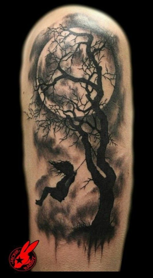 Full Moon With Clouds Tattoo Google Search Silhouette Tattoos Swing Tattoo Half Sleeve Tattoos Designs