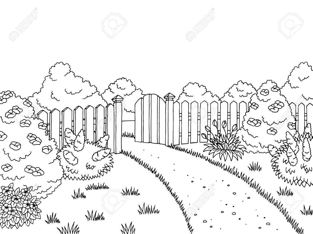 Garten Clipart Schwarz Weiß