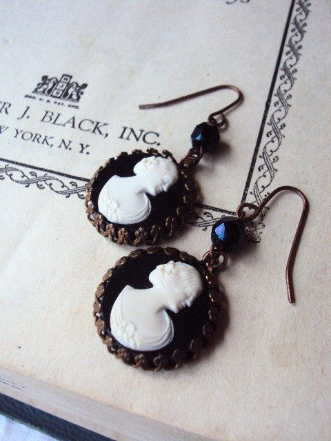 Vintage Cameo Earrings Repurposed Altered by primitivepincushion, $14.99