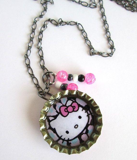 Kawaii Hello Kitty Bottle Cap Pendant