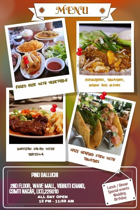 Copy Of Creative Restaurant Flyers And Poster Places To Visit