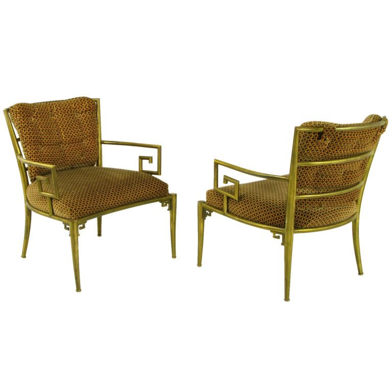 Pair Italian Brass Chairs With Greek Key Arms | From A Unique Collection Of  Antique And