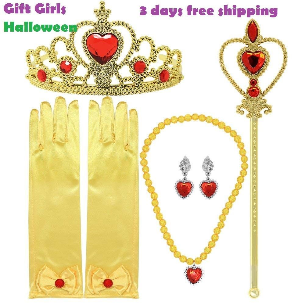 Girls princess yellow dress accessories for gift crown scepter