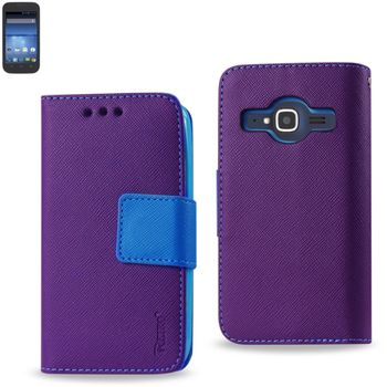 Reiko Wallet Case 3 In 1 For ZTE Concord 2 Z730 Purple With Blue Interior Polymer