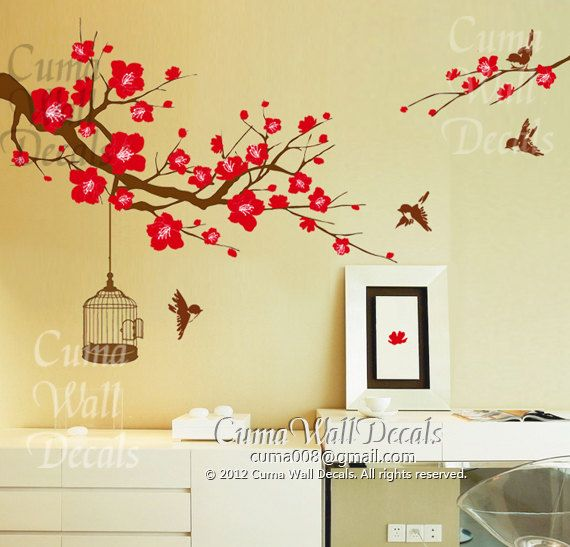 Cherry blossom wall decal birds wall decals flower vinyl for Mural flower