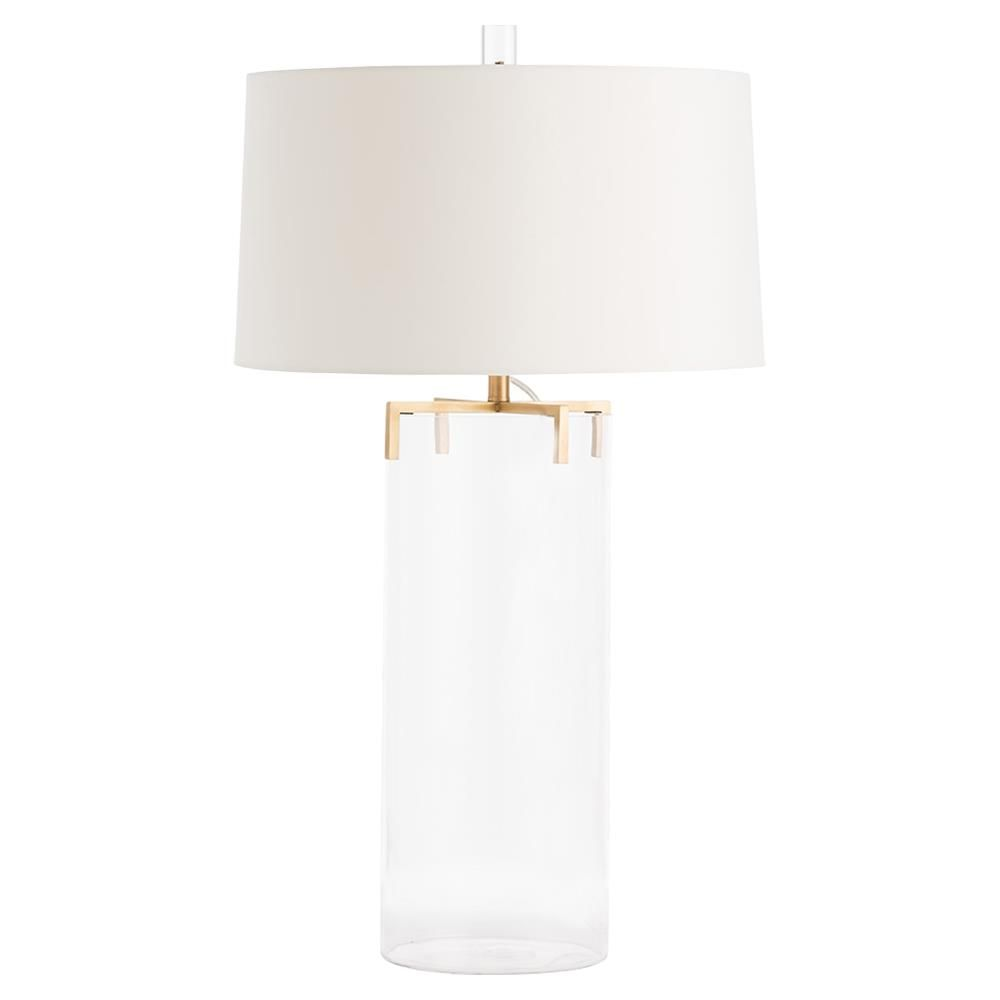 Arteriors Dale Modern Glass Cylinder Brass Claw Table Lamp Table