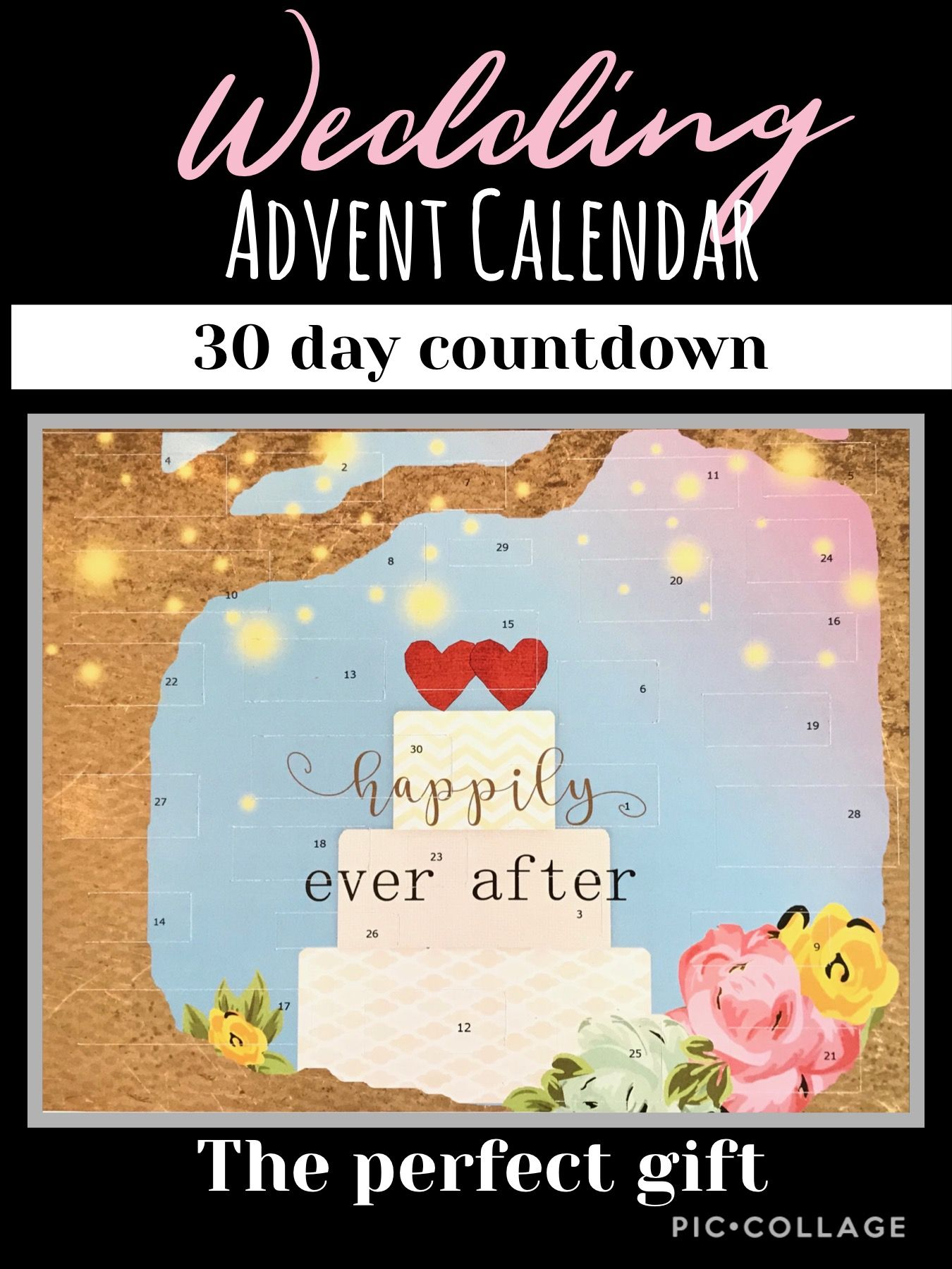 Countdown To Wedding Advent Calendar Engagement Bridal Etsy In 2020 Wedding Calendar Calendar Birthday Wishes