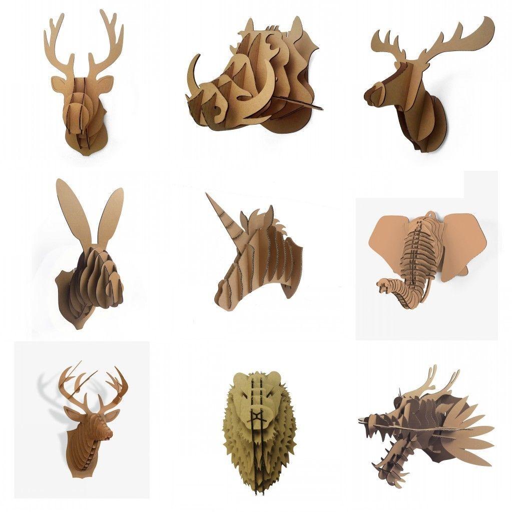 Big Mixed Style Animal Head Wall Decoration Sculpture Diy Cardboard Hanger Paper Actividades