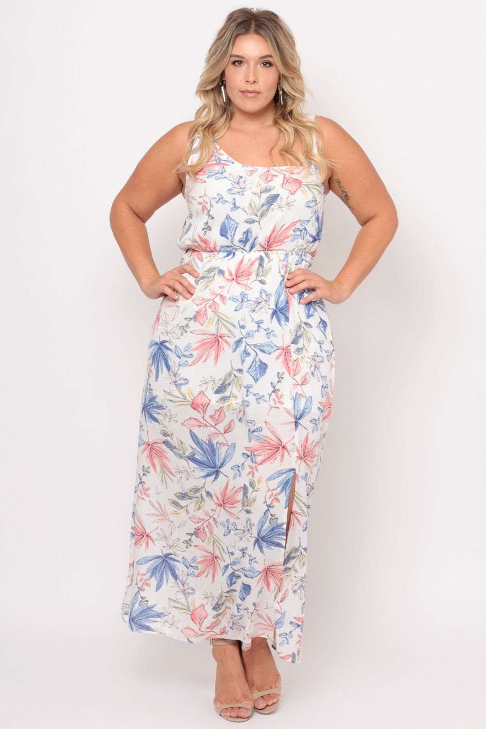 Plus size floral print maxi dress white floral print maxi dress