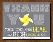 PRINTABLE You Are My Sunshine Birthday Thank You Cards. $12.00, via Etsy.