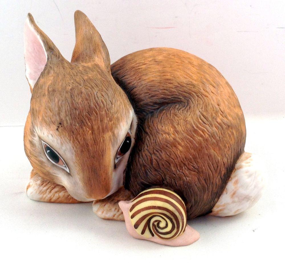 Slowpoke Bunny Rabbit Snail Figurine Porcelain Slow Poke Franklin Mint Bunny Rabbit Franklin Mint Snail